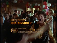Micky Dolenz - Music consultant: Don Kirshner / Color by Pathe / This picture made under the jurisdiction of affiliated with A.F. of I. - C.I.O. / The characters and the incidents portrayed and the names used herein are fictitious, and any similarity to the person or history is entirely unintentional and coincidental.