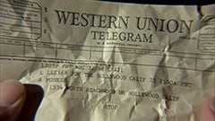 Western Union telegram / W.P. Marshall, president / 1205P PDT Dec 31 68 LB221 / L LLZ168 PDF TDL Hollywood Calif 23 1100A PDT / A Monkee / 1334 North Beachwood Dr Hollywood Calif / Stop