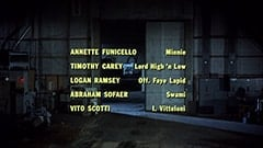 Annette Funicello … Minnie / Timothy Carey … Lord High 'n Low / Logan Ramsey … Off. Faye Lapid / Abraham Sofaer … Swami / Vito Scotti … I. Vitteloni