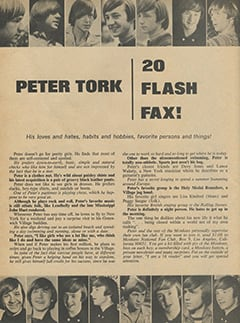 <cite>16 Spec</cite> (Winter 1967), Peter Tork: 20 Flash Fax, Page 34