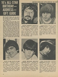 <cite>16</cite> (January 1967), 16&rsquo;s All-Star Birthday-Address-Gift Guide, Page 48