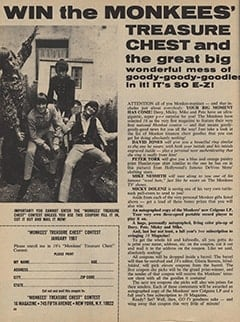<cite>16</cite> (January 1967), Win The Monkees&rsquo; Treasure Chest, Page 58