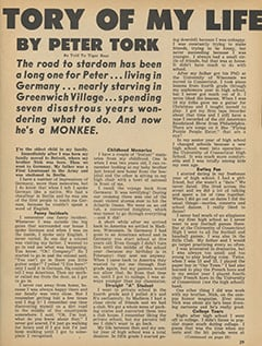 <cite>Tiger Beat</cite> (January 1967), The Story of My Life by Peter Tork, Page 29
