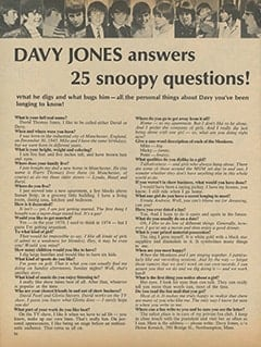<cite>16</cite> (February 1967), Davy Jones Answers 25 Snoopy Questions, Page 36