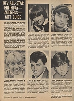 <cite>16</cite> (February 1967), 16's All-Star Birthday-Address-Gift Guide, Page 56