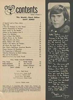 <cite>Tiger Beat</cite> (February 1967) table of contents