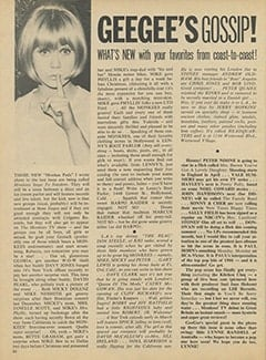 <cite>16</cite> (April 1967), Geegee&rsquo;s Gossip, Page 50