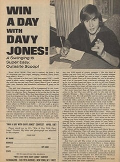<cite>16</cite> (April 1967), Win a Day with Davy Jones, Page 54