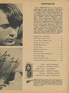 <cite>Monkee Spectacular</cite> (April 1967) table of contents