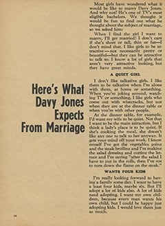 <cite>Monkee Spectacular</cite> (April 1967), Here's What Davy Jones Expects from Marriage, Page 14