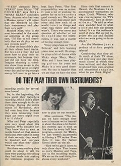 <cite>Monkee Spectacular</cite> (April 1967), Do They Play Their Own Instruments?, Page 67
