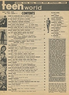 <cite>Teen World</cite> (April 1967) table of contents