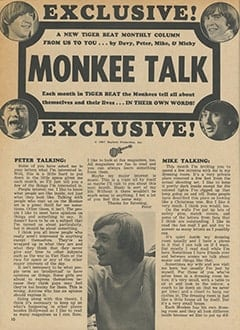 <cite>Tiger Beat</cite> (April 1967), Monkee Talk, Page 10