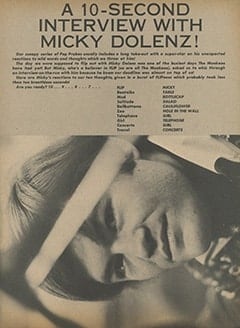 <cite>Flip</cite> (May 1967), A 10-Second Interview with Micky Dolenz, Page 29