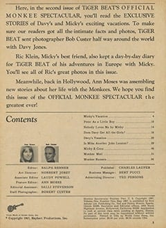 <cite>Monkee Spectacular</cite> (May 1967) table of contents