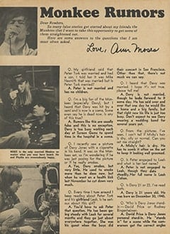 <cite>Monkee Spectacular</cite> (May 1967), Monkee Rumors, Page 66