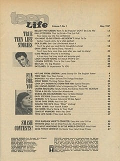 <cite>Teen Life</cite> (May 1967) table of contents