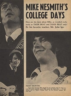 <cite>Tiger Beat</cite> (May 1967), Mike Nesmith's College Days, Page 24