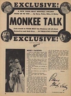 <cite>Tiger Beat</cite> (May 1967), Monkee Talk, Page 56