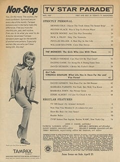 <cite>TV Star Parade</cite> (May 1967) table of contents