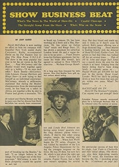 <cite>TV Star Parade</cite> (May 1967), Show Business Beat, Page 26