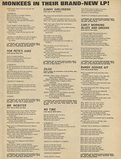 <cite>16 Spec</cite> (Summer 1967), Sing Along with The Monkees in Their Brand-New LP, Page 43
