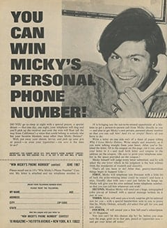 <cite>16</cite> (June 1967), You Can Win Micky&rsquo;s Personal Phone Number, Page 38