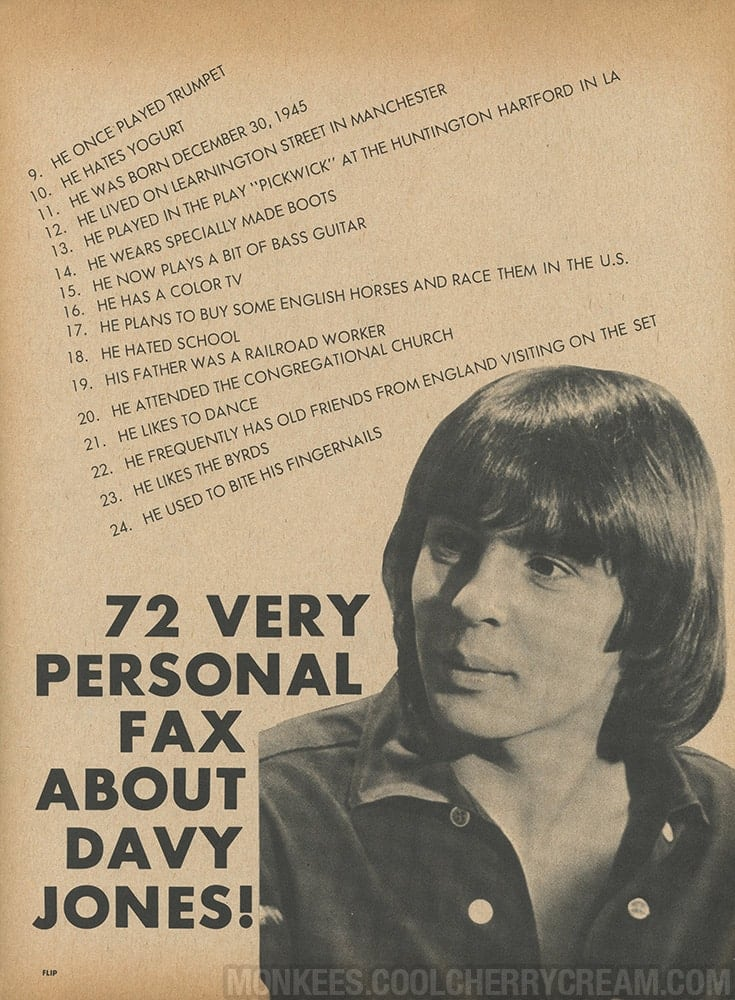 72 very personal fax about davy jones flip sunshine factory