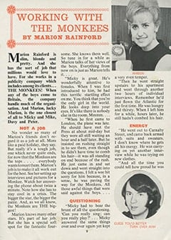 <cite>Monkees Monthly</cite> (June 1967), Working with The Monkees, Page 09