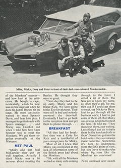 <cite>Monkees Monthly</cite> (June 1967), Working with The Monkees, Page 10