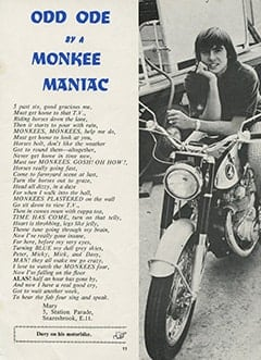 <cite>Monkees Monthly</cite> (June 1967), Odd Ode by a Monke Maniac, Page 11