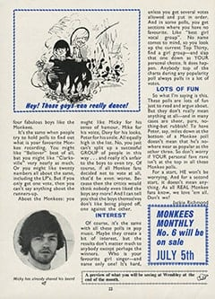 <cite>Monkees Monthly</cite> (June 1967), All The Monkees Are Popular, Page 22