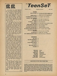<cite>TeenSet</cite> (June 1967) table of contents
