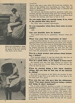 <cite>Tiger Beat</cite> (June 1967), Davy's Days As a Jockey, Page 12
