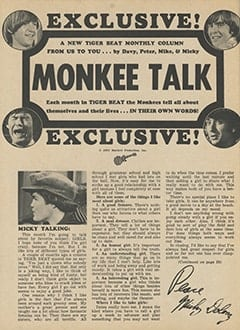 <cite>Tiger Beat</cite> (June 1967), Monkee Talk, Page 56