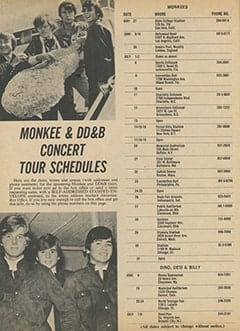 <cite>16</cite> (July 1967), Monkee & DD&B Concert Tour Schedules, Page 28