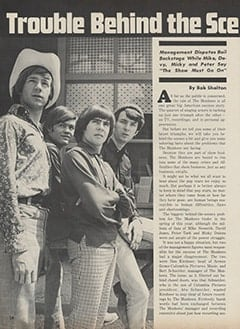 <cite>Hullabaloo</cite> (July-August 1967), Trouble Behind the Scenes with The Monkees, Page 18