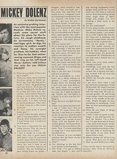 <cite>Hullabaloo</cite> (July-August 1967), Mickey Dolenz, Page 60