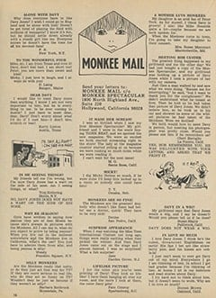 <cite>Monkee Spectacular</cite> (July 1967), Monkee Letters, Page 16
