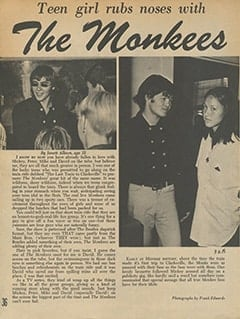 <cite>Movie Teen Illustrated</cite> (July 1967), Teen Girl Rubs Noses with The Monkees, Page 36