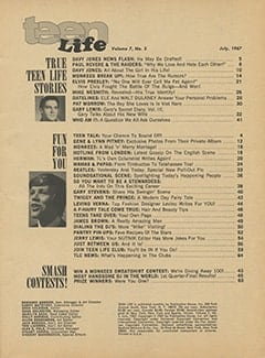 <cite>Teen Life</cite> (July 1967) table of contents