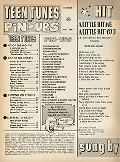 <cite>Teen Tunes</cite> (July 1967) table of contents