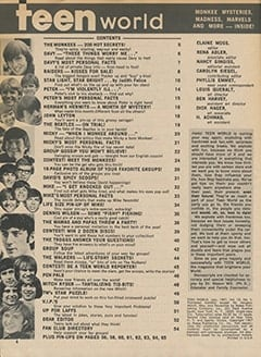 <cite>Teen World</cite> (July 1967) table of contents