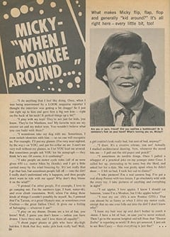 <cite>Teen World</cite> (July 1967), Micky&mdash;&ldquo;When I Monkee Around&hellip;&rdquo;, Page 20