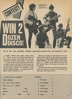<cite>Teen World</cite> (July 1967), Contest! Win 2 Dozen Discs, Page 39