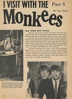 <cite>Tiger Beat</cite> (July 1967), I Visit with The Monkees (Part 8), Page 20