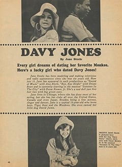 <cite>Tiger Beat</cite> (July 1967), Davy Jones by Jane Steele, Page 40