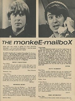 <cite>16</cite> (August 1967), The Monkee-Mailbox, Page 13