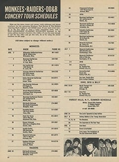 <cite>16</cite> (August 1967), Monkees - Raiders - DD&B Concert Tour Schedules, Page 60