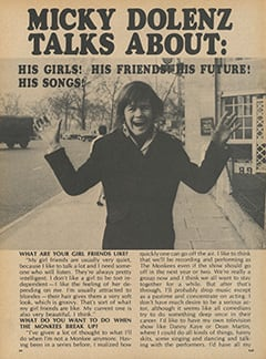 <cite>Flip</cite> (August 1967), Micky Dolenz Talks About, Page 54